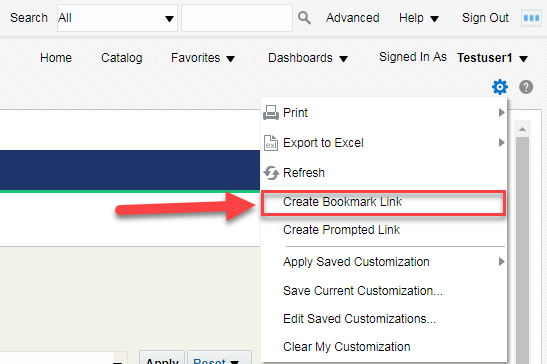 Screenshot illustrating Create Bookmark Link option within Page Options menu. See accompanying narrative for description.