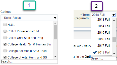 Screenshot illustrating two different types of dropdown menus: multiselect with checkboxes and single select with checkmark and no boxes. See accompanying narrative for description.