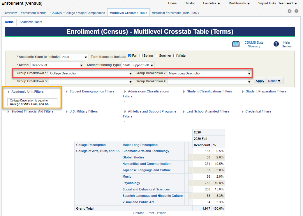 Screenshot illustrating example from Enrollment (Census) Multilevel Crosstab Table (Terms) page with Group Breakdowns of College Description and Major Long Description and Academic Unit Filter applied of College Description is College of Arts, Hum, and SS. See accompanying narrative for description.