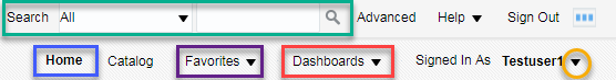 Header screenshot illustrating Search, Home, Favorites, Dashboards, and account settings dropdown. See accompanying narrative on page for descriptions.