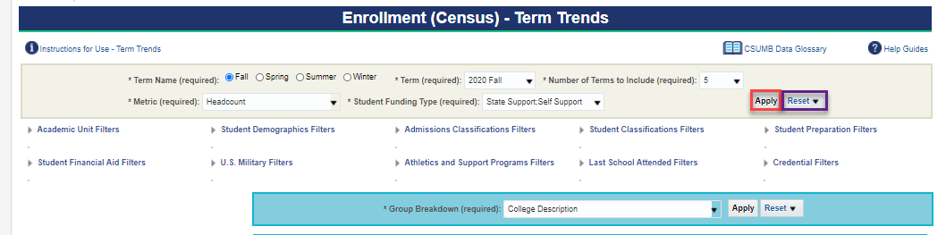 Screenshot illustrating Interactive Prompts on Enrollment (Census) - Term Trends page. See accompanying narrative for description.