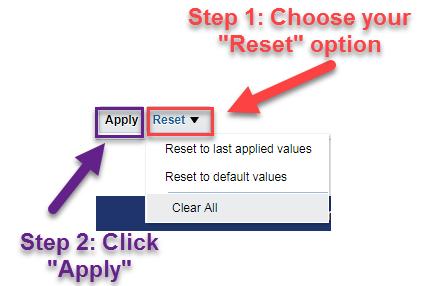 Screenshot illustrating Reset button options. See accompanying narrative for description.