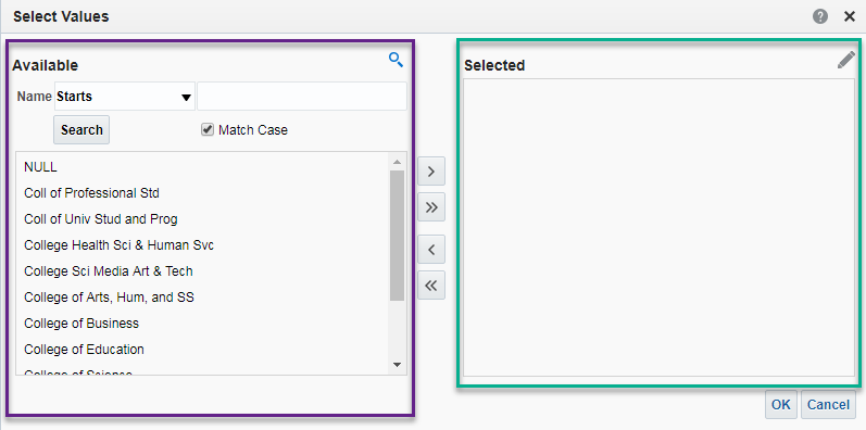 Screenshot of Select Values Box (Prompt Search Function). See accompanying narrative for description.