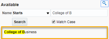 Screenshot of Select Values Name Search Example. See accompanying narrative for description.