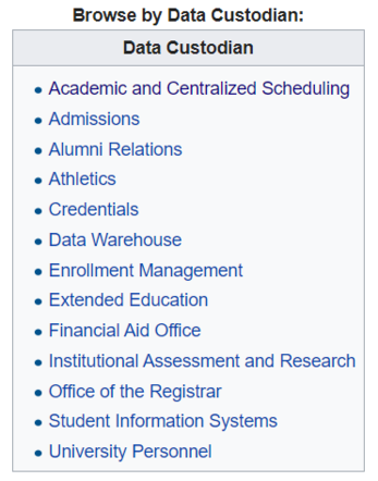 Browse by Data Custodian Table Screenshot from CSUMB Data Glossary Main page.