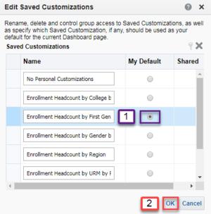 Screenshot illustrating how to change default saved customization. See accompanying narrative for description.