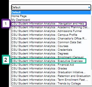Screenshot illustrating Starting Page drop down menu. See accompanying narrative for description.
