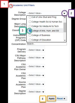 Screenshot illustrating steps to make an optional filter prompt selection. See accompanying narrative for description.