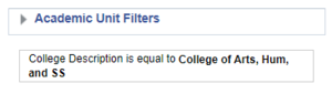 Screenshot showing filter applied from Academic Unit Filters menu. See accompanying narrative for description.