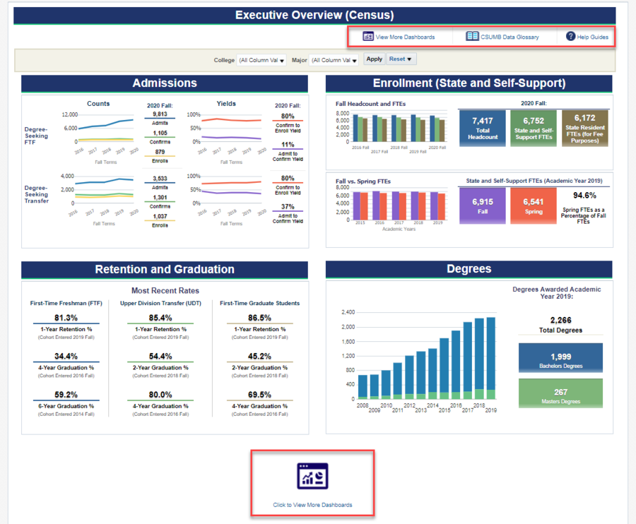 Screenshot of Executive Overview Dashboard. See accompanying narrative for description.