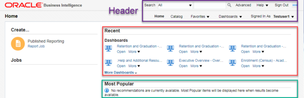 Screenshot displays location of Header, Recent, and Most Popular sections on Home page. See accompanying narrative for description.