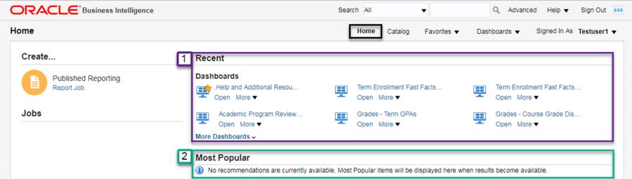 Screenshot illustrating default start (Home) page. See accompanying narrative for description.
