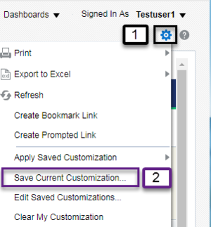 Screenshot illustrating Save Current Customization with Page Options (Gear Icon) menu. See accompanying narrative for description.