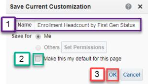 Screenshot illustrating Save Current Customization box. See accompanying narrative for description.