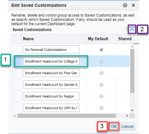 Screenshot illustrating how to delete saved customization. See accompanying narrative for description.